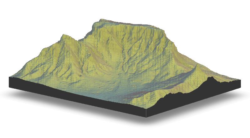 Table Mountain rayshader visualisation