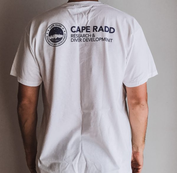 back view of cape radd t-shirt