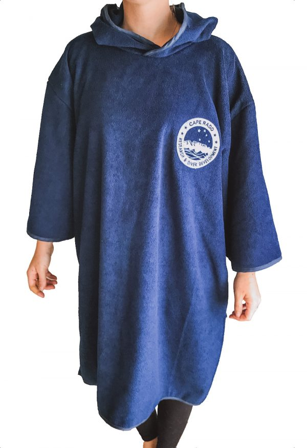 woman wearing diving poncho-towel