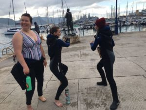 Students channeling Wim Hof  to warm up after a dive.